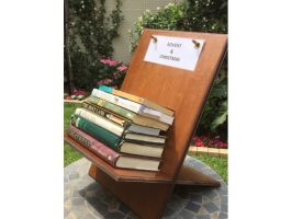 """Mike Barnard - Collapsible display bookstands for Church Library. Made from 9mm MDF. Router used to cut """"egg crate"""" joint and mould edges. (added 20161205)"""