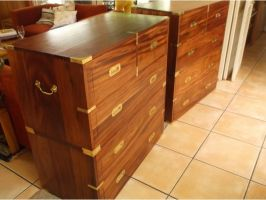 Charles McCleod and his 'apple' Brian Wright - Reproduction mid-19th century officers' chests. Built from African mahogany (Khaya sp.) The router played a major role in the construction of these chests.(added 20161220)